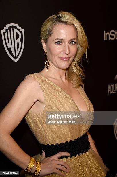 Actress Gillian Anderson attends The 2016 InStyle And Warner Bros 73rd Annual Golden Globe Awards PostParty at The Beverly Hilton Hotel on January 10...