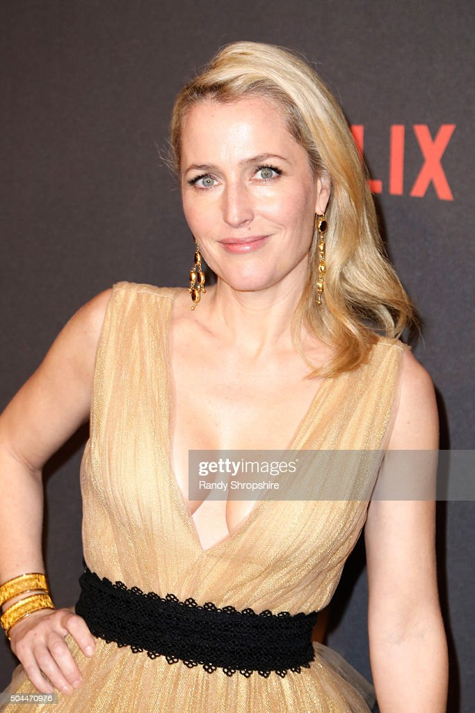 Actress <a gi-track='captionPersonalityLinkClicked' href=/galleries/search?phrase=Gillian+Anderson&family=editorial&specificpeople=202894 ng-click='$event.stopPropagation()'>Gillian Anderson</a> attends the 2016 Weinstein Company and Netflix Golden Globe Awards After Party at The Beverly Hilton on January 10, 2016 in Los Angeles, California.