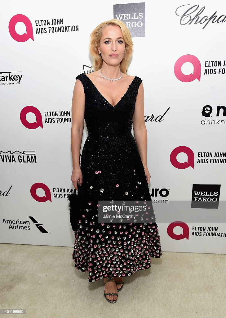 Actress Gillian Anderson attends the 23rd Annual Elton John AIDS Foundation Academy Awards Viewing Party on February 22 2015 in Los Angeles California