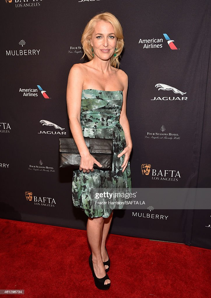 Actress <a gi-track='captionPersonalityLinkClicked' href=/galleries/search?phrase=Gillian+Anderson&family=editorial&specificpeople=202894 ng-click='$event.stopPropagation()'>Gillian Anderson</a> attends the BAFTA Los Angeles Tea Party at The Four Seasons Hotel Los Angeles At Beverly Hills on January 10, 2015 in Beverly Hills, California.