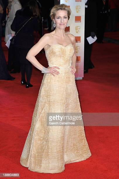 Actress Gillian Anderson attends the Orange British Academy Film Awards 2012 at the Royal Opera House on February 12 2012 in London England
