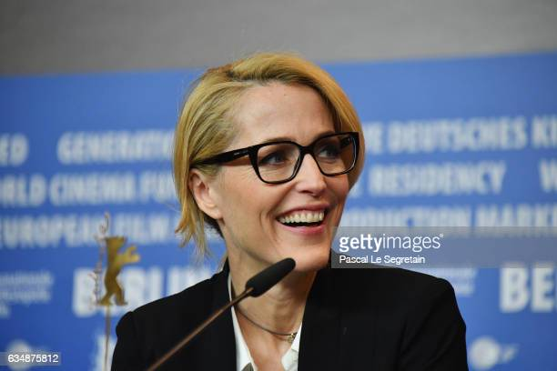 Actress Gillian Anderson attends the 'Viceroy's House' press conference during the 67th Berlinale International Film Festival Berlin at Grand Hyatt...