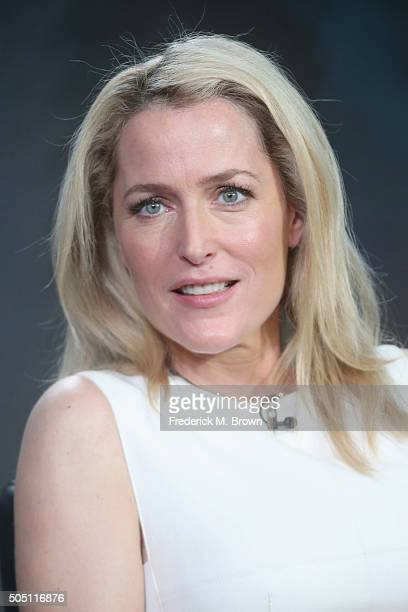 Actress Gillian Anderson speaks onstage during 'The XFiles' panel discussion at the FOX portion of the 2015 Winter TCA Tour at the Langham Huntington...