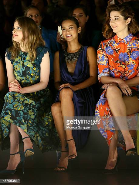 Actress Gillian Jacobs actress Jamie Chung and actress Mary Elizabeth Winstead attend Monique Lhuillier Spring 2016 during New York Fashion Week The...