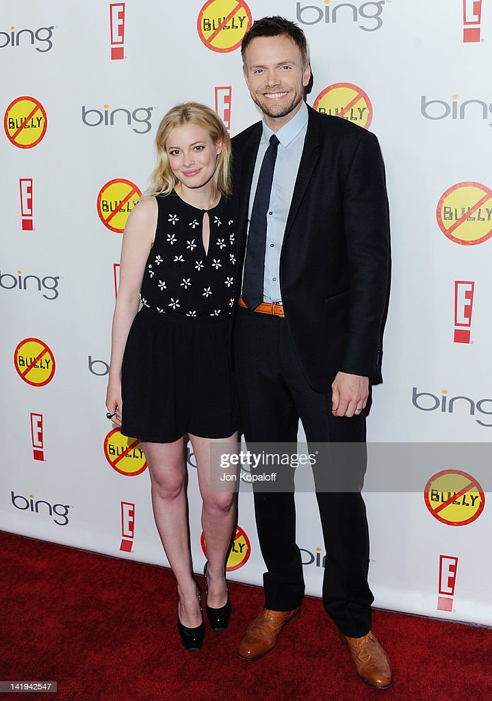 Actress <a gi-track='captionPersonalityLinkClicked' href=/galleries/search?phrase=Gillian+Jacobs&family=editorial&specificpeople=4836757 ng-click='$event.stopPropagation()'>Gillian Jacobs</a> and actor <a gi-track='captionPersonalityLinkClicked' href=/galleries/search?phrase=Joel+McHale&family=editorial&specificpeople=754384 ng-click='$event.stopPropagation()'>Joel McHale</a> arrive at the Los Angeles Premiere 'Bully' at Mann Chinese 6 on March 26, 2012 in Los Angeles, California.