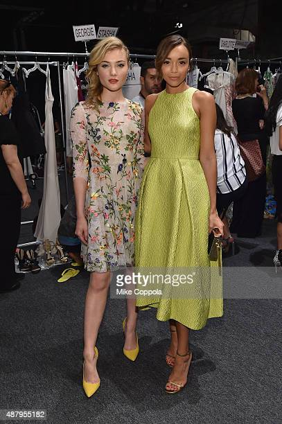 Actress Gillian Jacobs and actress Ashley Madekwe pose backstage at Monique Lhuillier Spring 2016 during New York Fashion Week The Shows at The Arc...