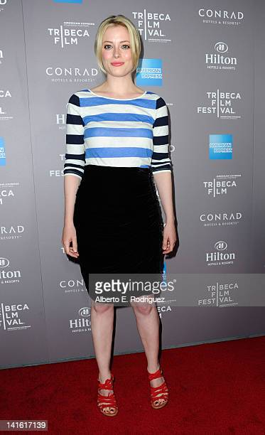 Actress Gillian Jacobs arrives to the 2010 American Express Tribeca Film Festival LA Reception at The Beverly Hilton Hotel on March 19 2012 in...