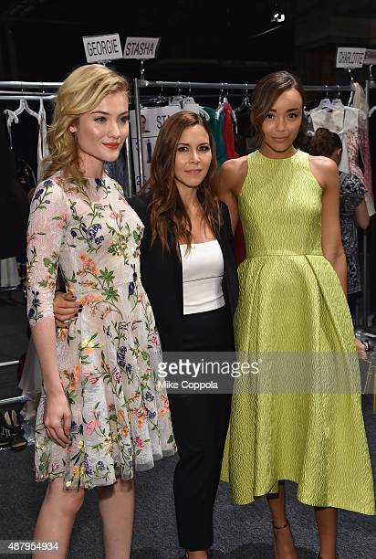 Actress Gillian Jacobs designer Monique Lhuillier and actress Ashley Madekwe pose backstage at Monique Lhuillier Spring 2016 during New York Fashion...