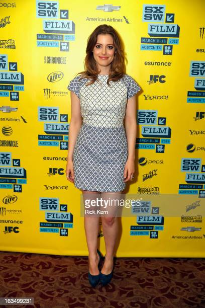 Actress Gillian Jacobs poses in the greenroom at the screening of 'Milo' during the 2013 SXSW Music Film Interactive Festival at Alamo Ritz on March...
