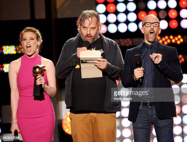 Actress Gillian Jacobs Writer Dan Harmon and actor/writer Jim Rash speak onstage at the MTVu Fandom Awards during ComicCon International 2014 at...