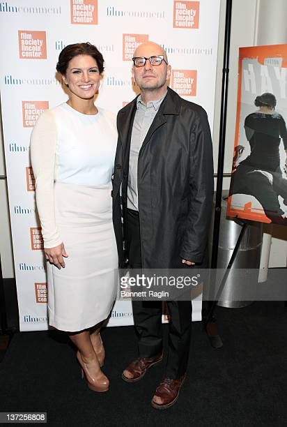 Actress Gina Carano and Steven Soderbergh attend the Film Comment Selects sneak preview screening of 'Haywire' at The Film Society of Lincoln Center...
