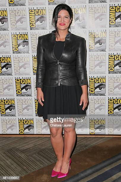 Actress Gina Carano arrives at the 'Deadpool' press room on July 11 2015 in San Diego California