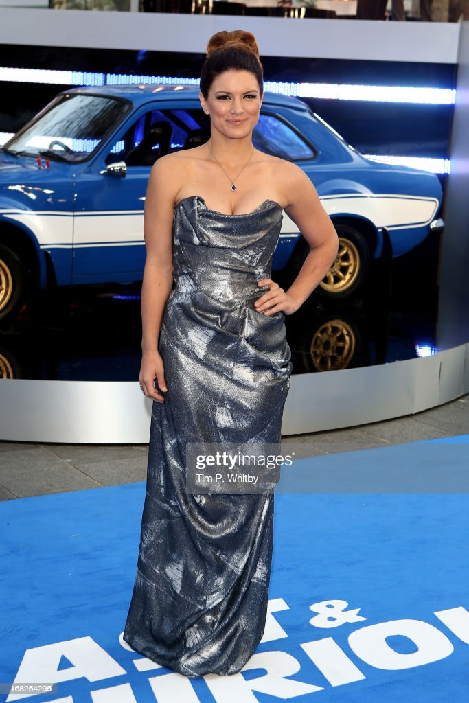 Actress Gina Carano attends the World Premiere of 'Fast & Furious 6' at Empire Leicester Square on May 7, 2013 in London, England.