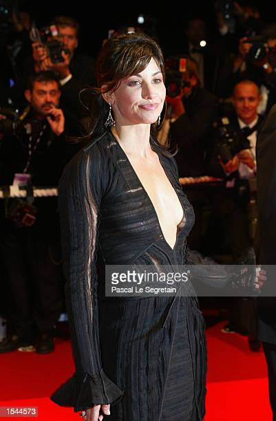 Actress Gina Gerschon arrives at the Festival Palace to attend the screening of director Alexander Payne's film 'About Schmidt' at the 55th...