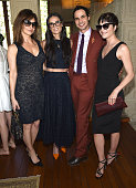 Actress Gina Gershon actress Demi Moore fashion designer Zac Posen and actress Selma Blair attend the MAC Cosmetics Zac Posen luncheon at the Ennis...