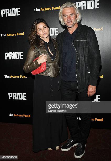 Actress Gina Gershon and Bobby Dekeyser attend 'Pride' New York Screening at Ziegfeld Theater on September 15 2014 in New York City