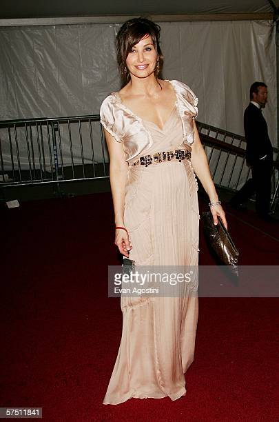 Actress Gina Gershon at the Metropolitan Museum of Art Costume Institute Benefit Gala 'AngloMania Tradition and Transgression in British Fashion' at...