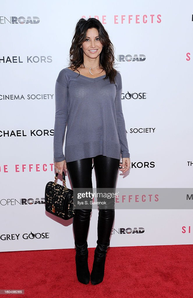 Actress <a gi-track='captionPersonalityLinkClicked' href=/galleries/search?phrase=Gina+Gershon&family=editorial&specificpeople=203099 ng-click='$event.stopPropagation()'>Gina Gershon</a> attends the premiere of 'Side Effects' hosted by Open Road with The Cinema Society and Michael Kors at AMC Lincoln Square Theater on January 31, 2013 in New York City.