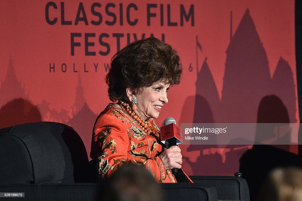 Actress <a gi-track='captionPersonalityLinkClicked' href=/galleries/search?phrase=Gina+Lollobrigida&family=editorial&specificpeople=93465 ng-click='$event.stopPropagation()'>Gina Lollobrigida</a> speaks onstage at 'Trapeze' during day 2 of the TCM Classic Film Festival 2016 on April 29, 2016 in Los Angeles, California. 25826_008
