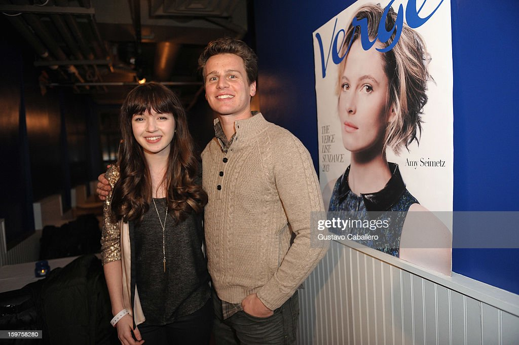 Actress Gina Piersanti and <a gi-track='captionPersonalityLinkClicked' href=/galleries/search?phrase=Jonathan+Groff&family=editorial&specificpeople=2994250 ng-click='$event.stopPropagation()'>Jonathan Groff</a> attends the Samsung Gallery Launch Party To Celebrate The Verge List - 2013 on January 19, 2013 in Park City, Utah.