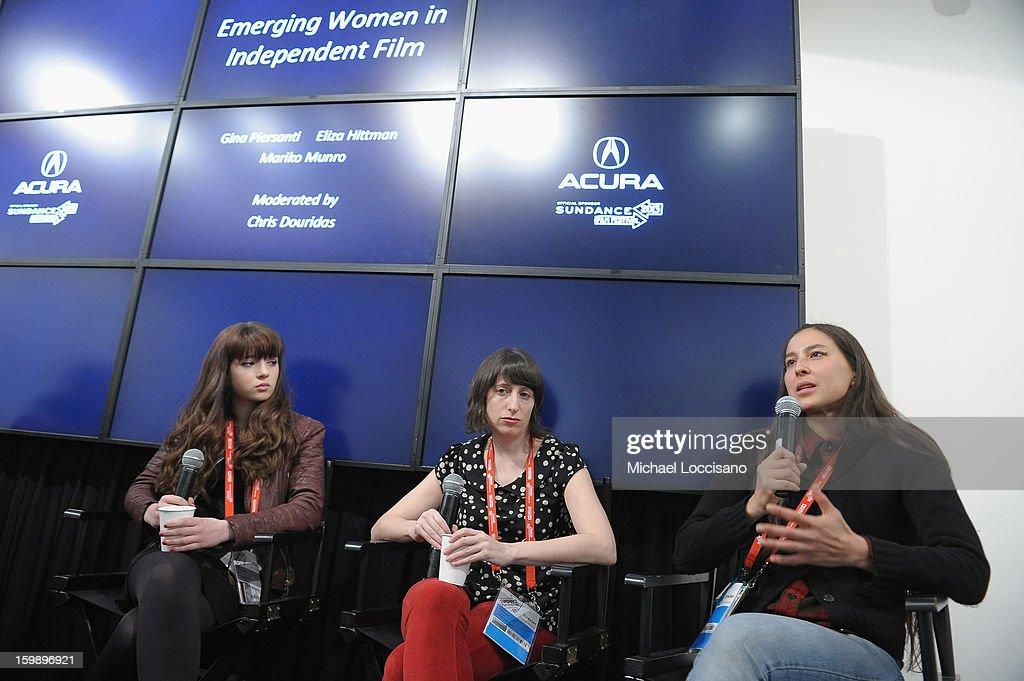 Actress Gina Piersanti filmmaker Eliza Hittman and Producer Mariko Munro attend the Acura Master Class Emerging Women in Independent Film on January...