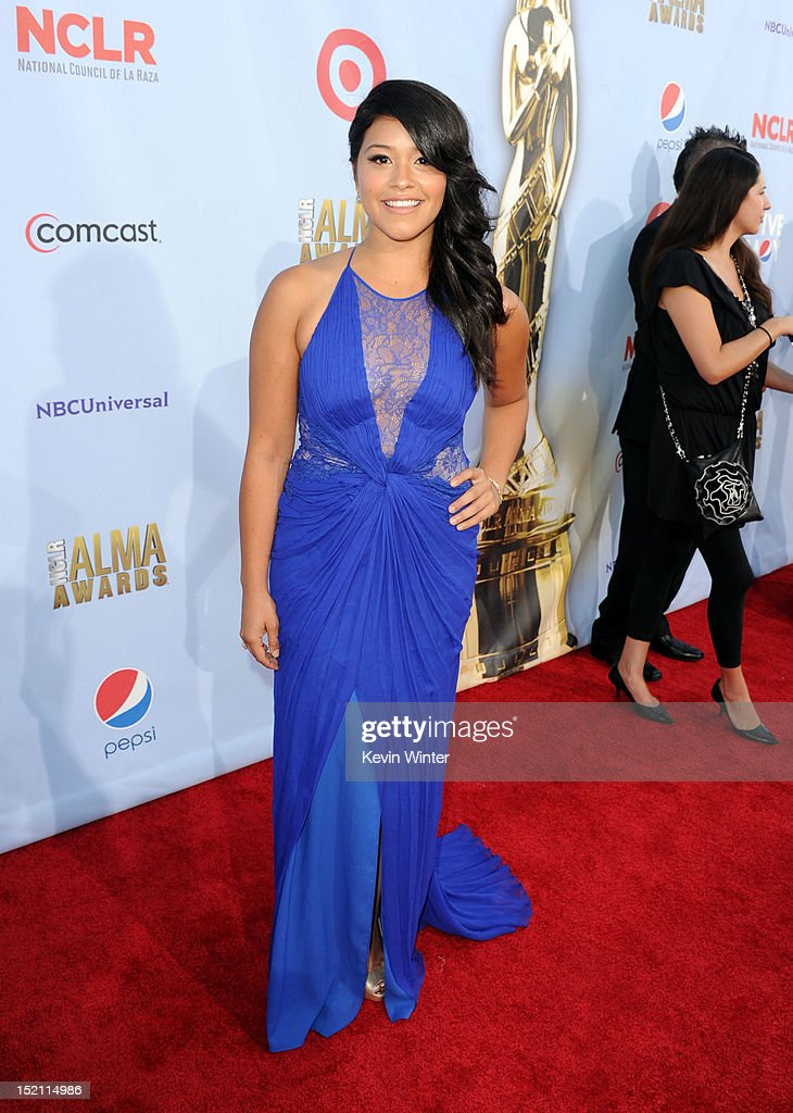 Actress Gina Rodriguez arrives at the 2012 NCLR ALMA Awards at Pasadena Civic Auditorium on September 16, 2012 in Pasadena, California.