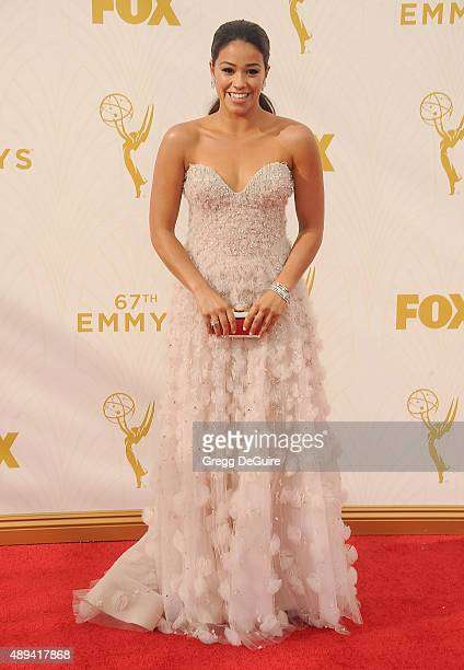 Actress Gina Rodriguez arrives at the 67th Annual Primetime Emmy Awards at Microsoft Theater on September 20 2015 in Los Angeles California