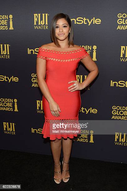 Actress Gina Rodriguez arrives at the Hollywood Foreign Press Association and InStyle celebrate the 2017 Golden Globe Award Season at Catch LA on...