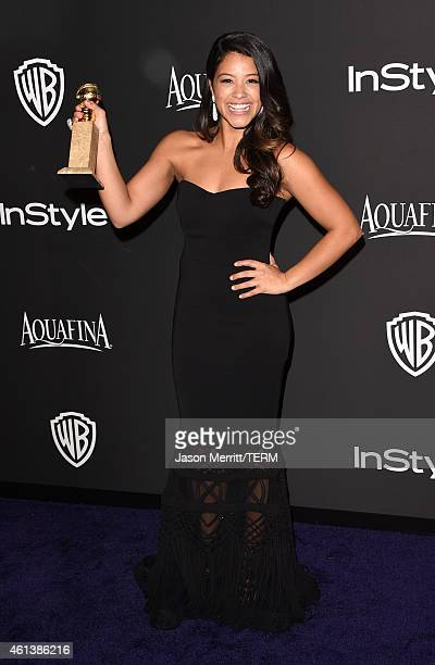 Actress Gina Rodriguez attends the 2015 InStyle And Warner Bros 72nd Annual Golden Globe Awards PostParty at The Beverly Hilton Hotel on January 11...