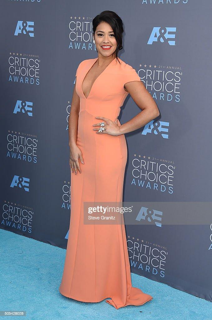 Actress Gina Rodriguez attends the 21st Annual Critics' Choice Awards at Barker Hangar on January 17, 2016 in Santa Monica, California.