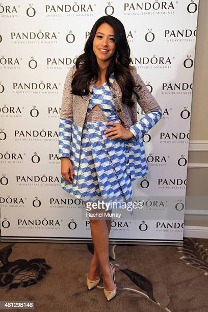 Actress Gina Rodriguez attends the HBO Luxury Lounge featuring PANDORA Jewelry at Four Seasons Hotel Los Angeles at Beverly Hills on January 10 2015...