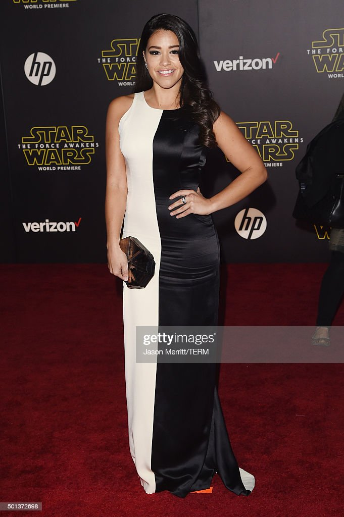 Actress Gina Rodriguez attends the premiere of Walt Disney Pictures and Lucasfilm's 'Star Wars The Force Awakens' at the Dolby Theatre on December...