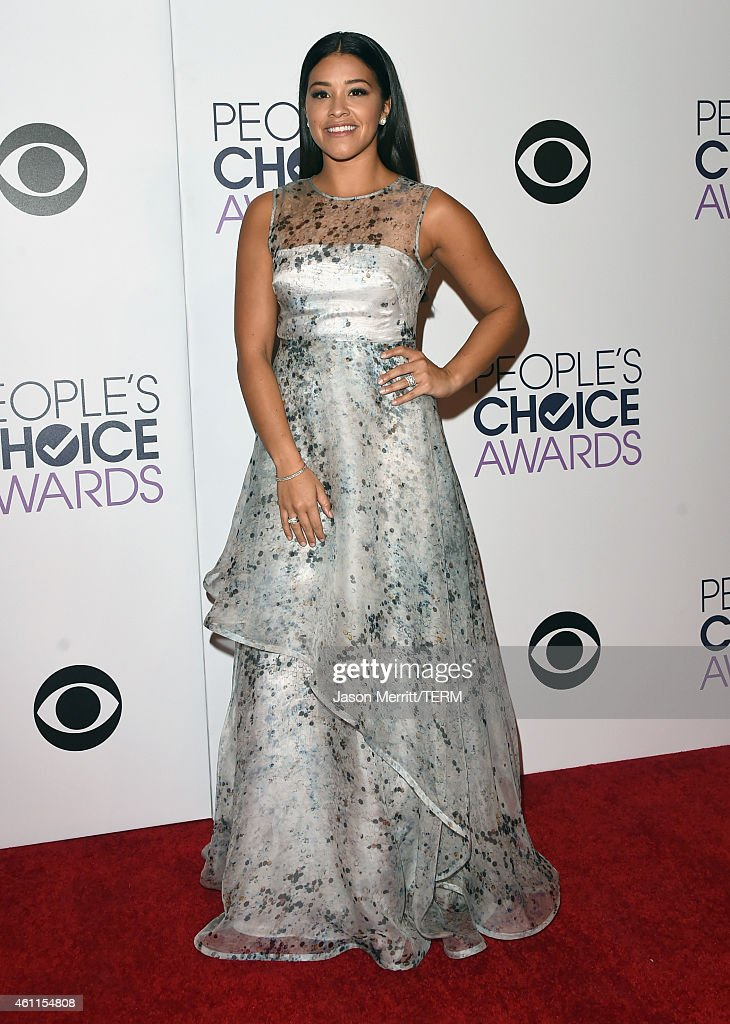 Actress Gina Rodriguez poses in the press room at The 41st Annual People's Choice Awards at Nokia Theatre LA Live on January 7, 2015 in Los Angeles, California.