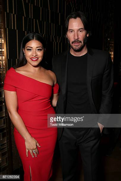 Actress Gina Rodriguez recipient of the Female Star of Tomorrow Award and actor Keanu Reeves recipient of the Vanguard Award attend the CinemaCon Big...