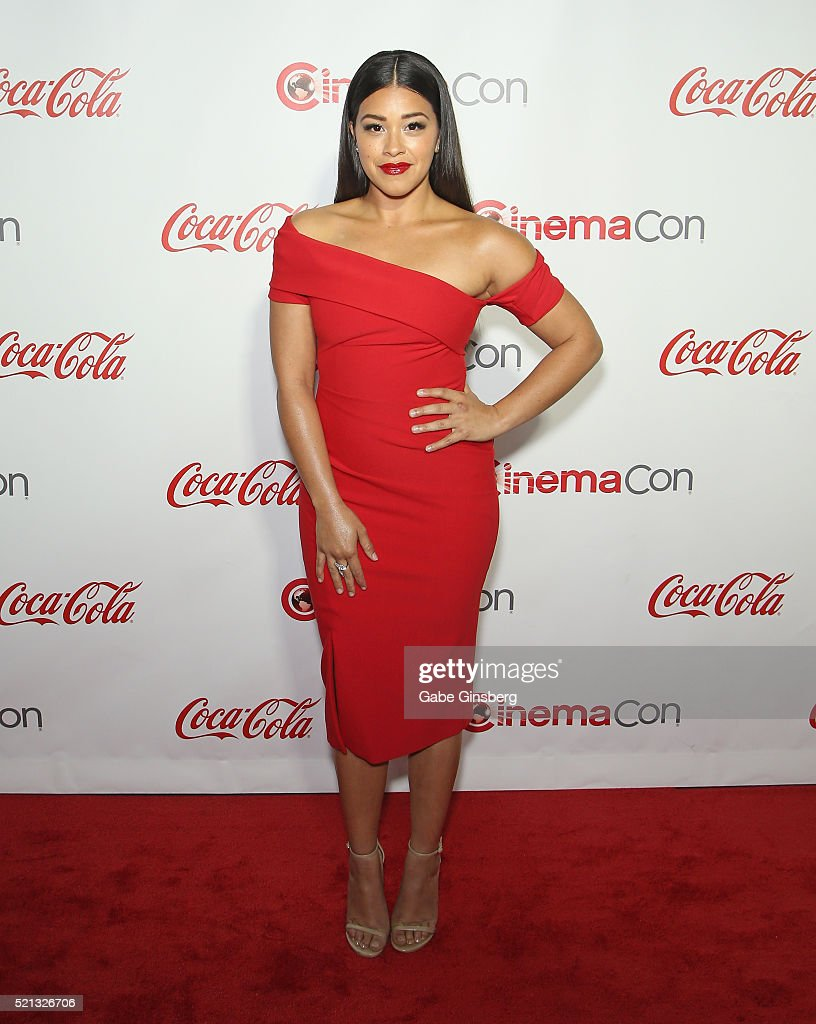 Actress Gina Rodriguez recipient of the Female Star of Tomorrow Award attends the CinemaCon Big Screen Achievement Awards at Omnia Nightclub at...