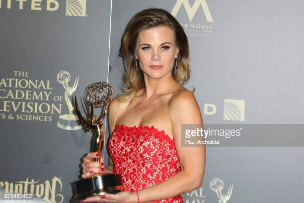Actress Gina Tognoni attends the press room for the 44th annual Daytime Emmy Awards at Pasadena Civic Auditorium on April 30 2017 in Pasadena...