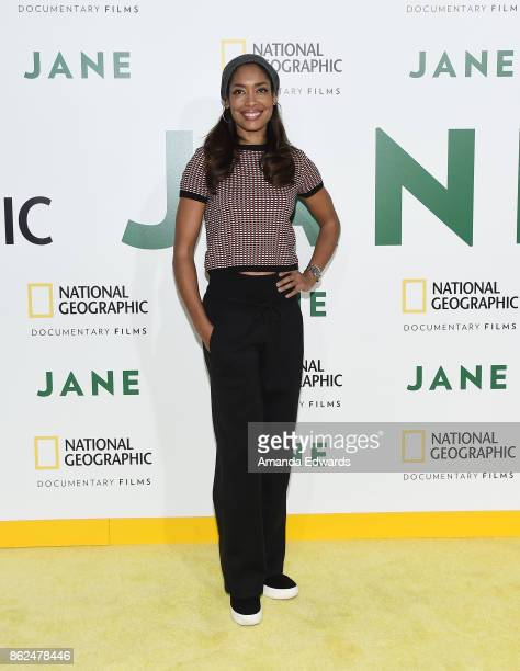 Actress Gina Torres arrives at the premiere of National Geographic Documentary Films' 'Jane' at the Hollywood Bowl on October 9 2017 in Hollywood...
