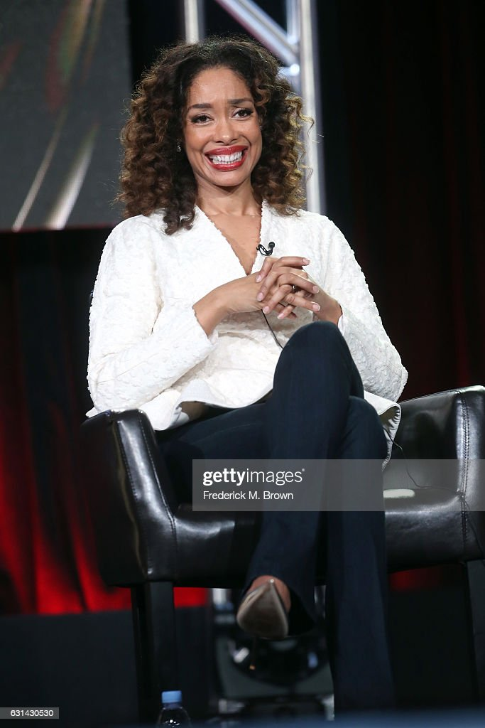 Actress Gina Torres of the television show 'The Catch' speaks onstage during the Disney-ABC portion of the 2017 Winter Television Critics Association Press Tour at Langham Hotel on January 10, 2017 in Pasadena, California.