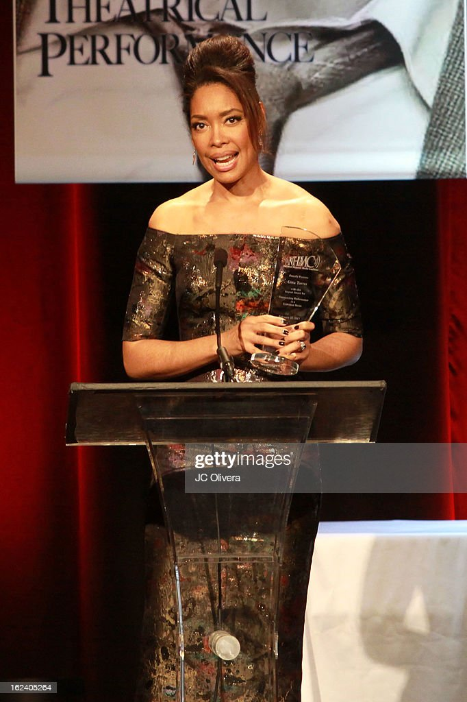 Actress <a gi-track='captionPersonalityLinkClicked' href=/galleries/search?phrase=Gina+Torres&family=editorial&specificpeople=581171 ng-click='$event.stopPropagation()'>Gina Torres</a> speaks at the National Hispanic Media Coalition's 16th Annual Impact Awards Gala at the Beverly Wilshire Four Seasons Hotel on February 22, 2013 in Beverly Hills, California.