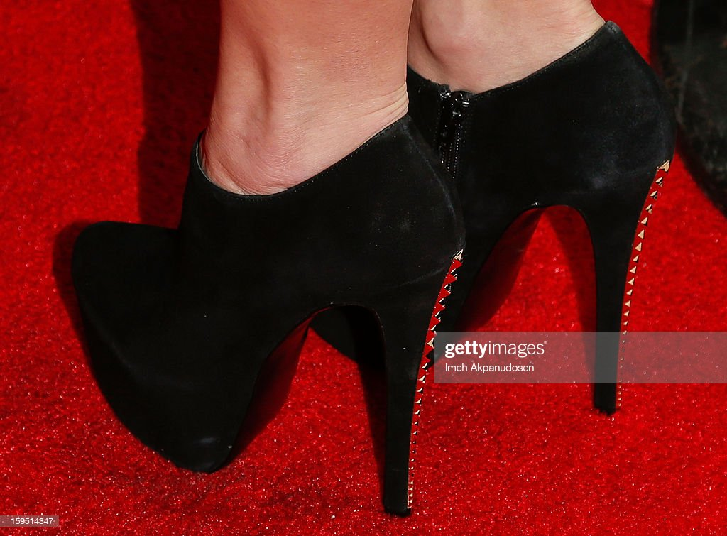 Actress Ginger Gonzaga (shoe detail) attends the screening of FX's new comedy series 'Legit' on January 14, 2013 in Los Angeles, California.