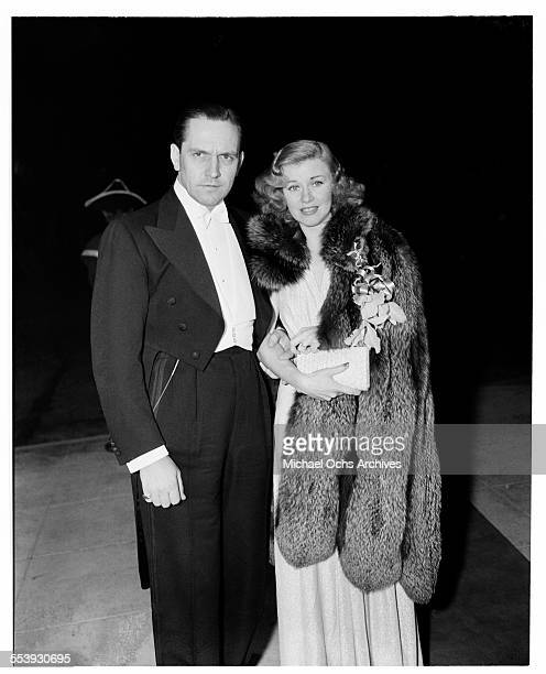 Actress Ginger Rogers and actor Fredric March attend an event in Los Angeles California
