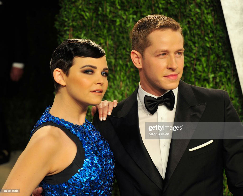 Actress Ginnifer Goodwin and actor Josh Dallas arrive at the 2013 Vanity Fair Oscar Party at Sunset Tower on February 24, 2013 in West Hollywood, California.