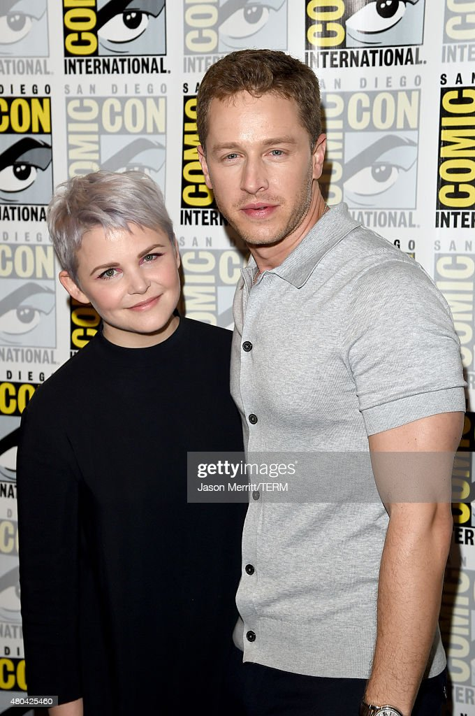 Actress Ginnifer Goodwin (L) and actor Josh Dallas attend the 'Once Upon A Time' press room during Comic-Con International 2015 at the Hilton Bayfront on July 11, 2015 in San Diego, California.