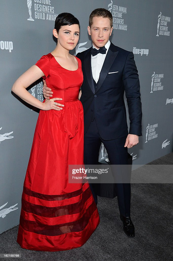 Actress <a gi-track='captionPersonalityLinkClicked' href=/galleries/search?phrase=Ginnifer+Goodwin&family=editorial&specificpeople=215039 ng-click='$event.stopPropagation()'>Ginnifer Goodwin</a> and Josh Dallas attend the 15th Annual Costume Designers Guild Awards with presenting sponsor Lacoste at The Beverly Hilton Hotel on February 19, 2013 in Beverly Hills, California.