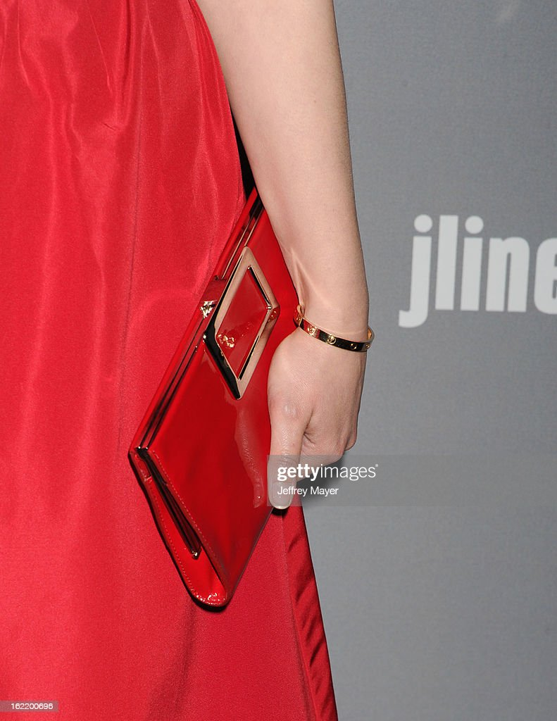 Actress Ginnifer Goodwin (handbag detail) at the 15th Annual Costume Designers Guild Awards at The Beverly Hilton Hotel on February 19, 2013 in Beverly Hills, California.