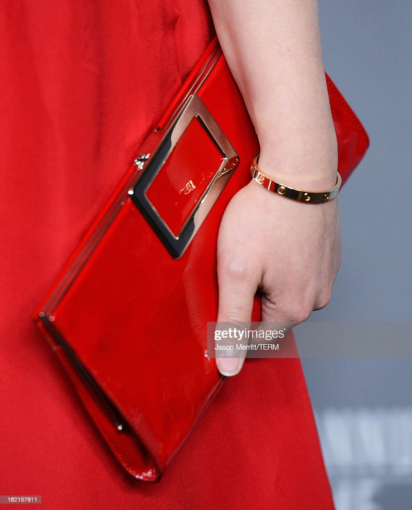 Actress Ginnifer Goodwin (handbag detail) attends the 15th Annual Costume Designers Guild Awards with presenting sponsor Lacoste at The Beverly Hilton Hotel on February 19, 2013 in Beverly Hills, California.