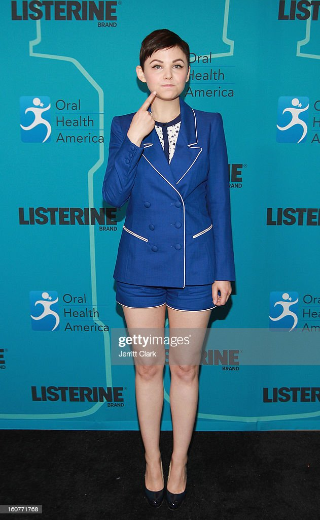 Actress <a gi-track='captionPersonalityLinkClicked' href=/galleries/search?phrase=Ginnifer+Goodwin&family=editorial&specificpeople=215039 ng-click='$event.stopPropagation()'>Ginnifer Goodwin</a> swishes for a future of healthier smiles at the Listerine 21 Day Challenge Kick-off at Gabarron Museum NYC on February 5, 2013 in New York City.