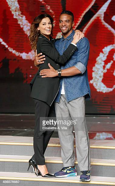 Actress Giorgia Surina and her dance partner Maykel Fonts attend 'Ballando Con Le Stelle' press conference photocall at Auditorium Rai on October 2...