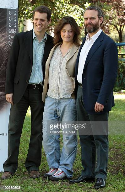 Actress Giovanna Mezzogiorno with directors Filippo Gentili and Dino Gentili attend 'Sono Viva' photocall at Villa Borghese on May 26 2010 in Rome...