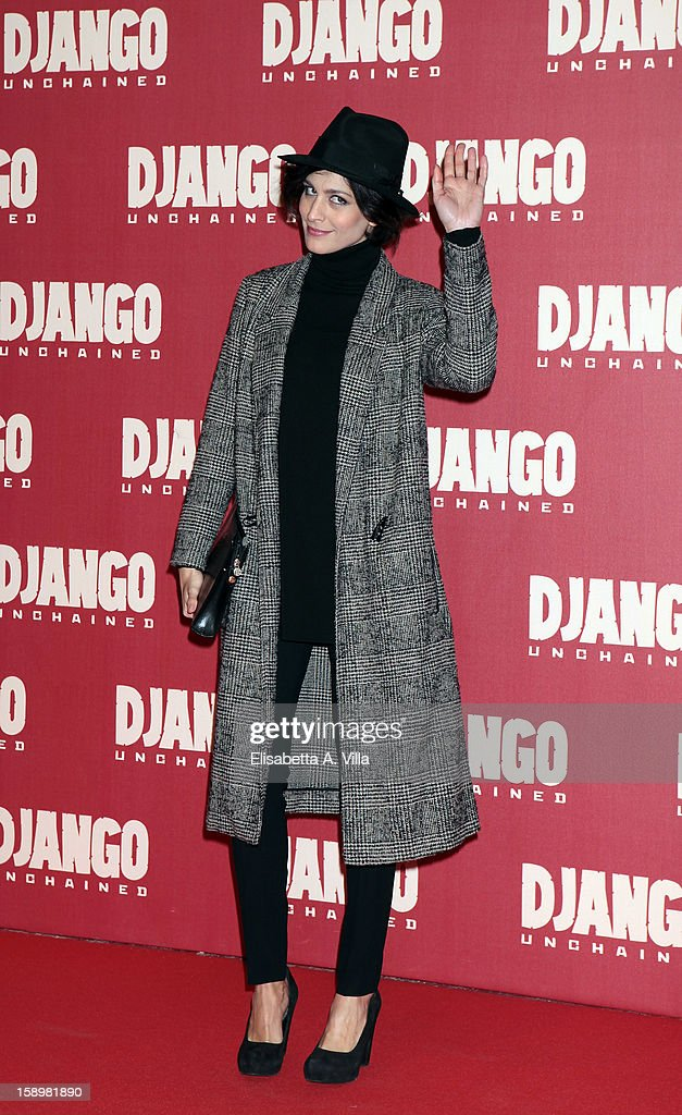 Actress Giulia Bevilacqua attends 'Django Unchained' premiere at Cinema Adriano on January 4, 2013 in Rome, Italy.